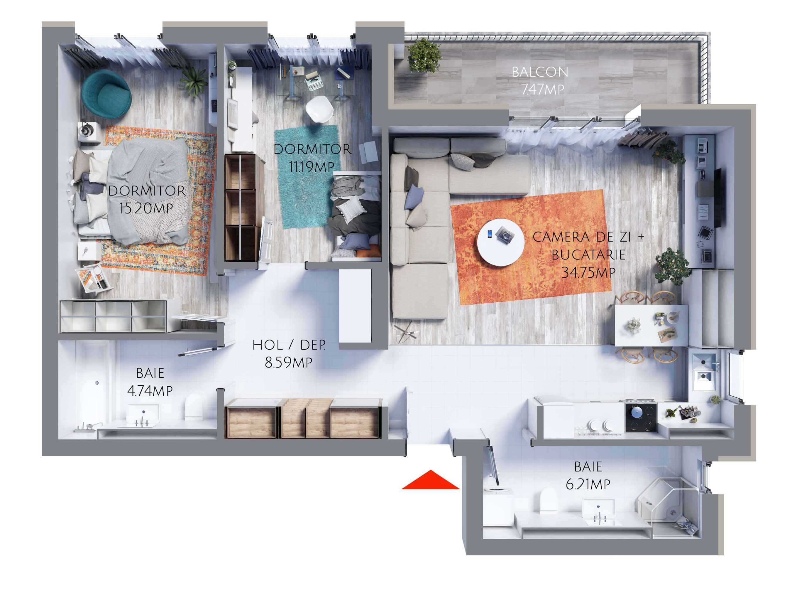 Apartament 3 camere MR80