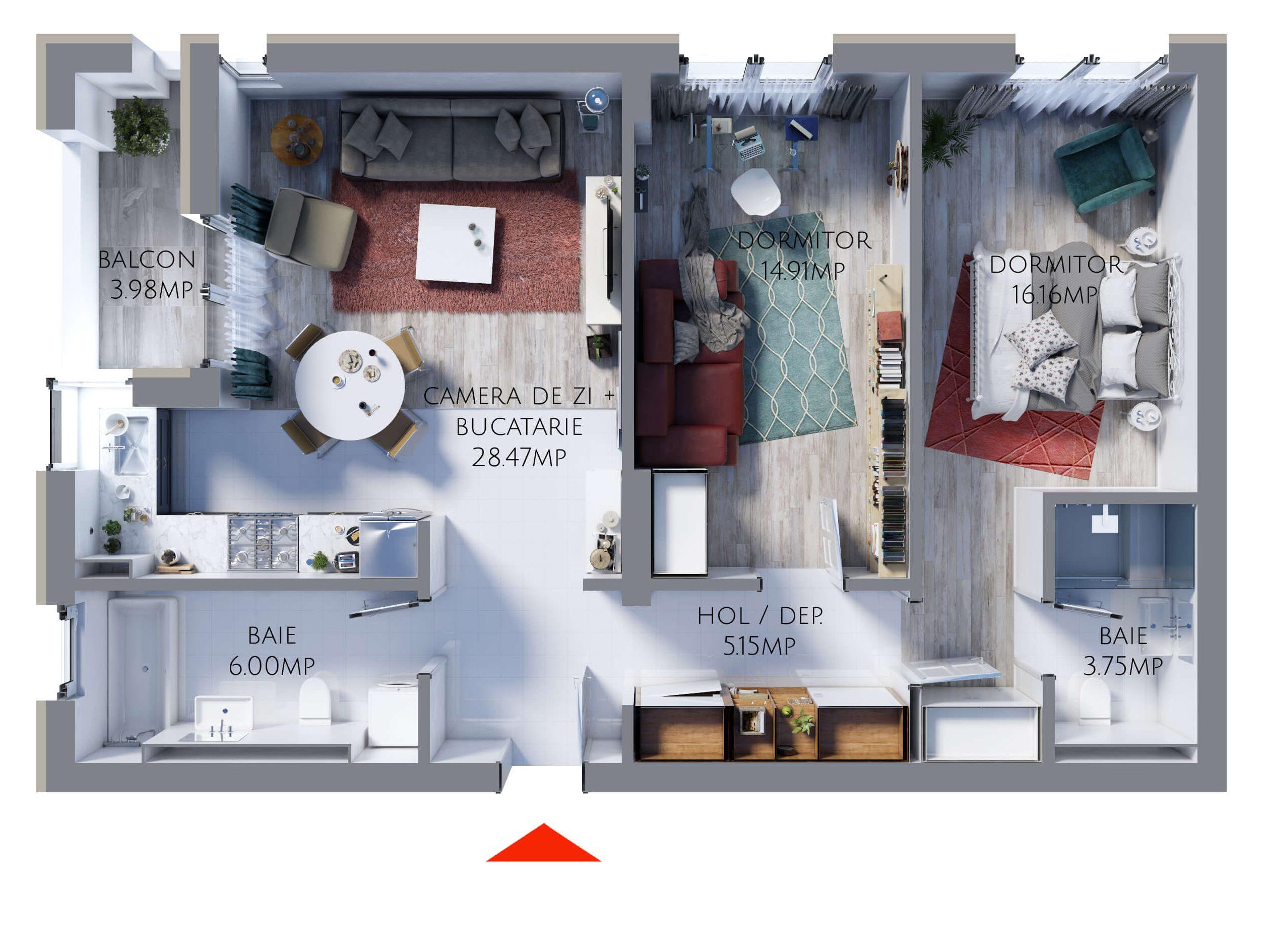 Apartament 3 camere MR74