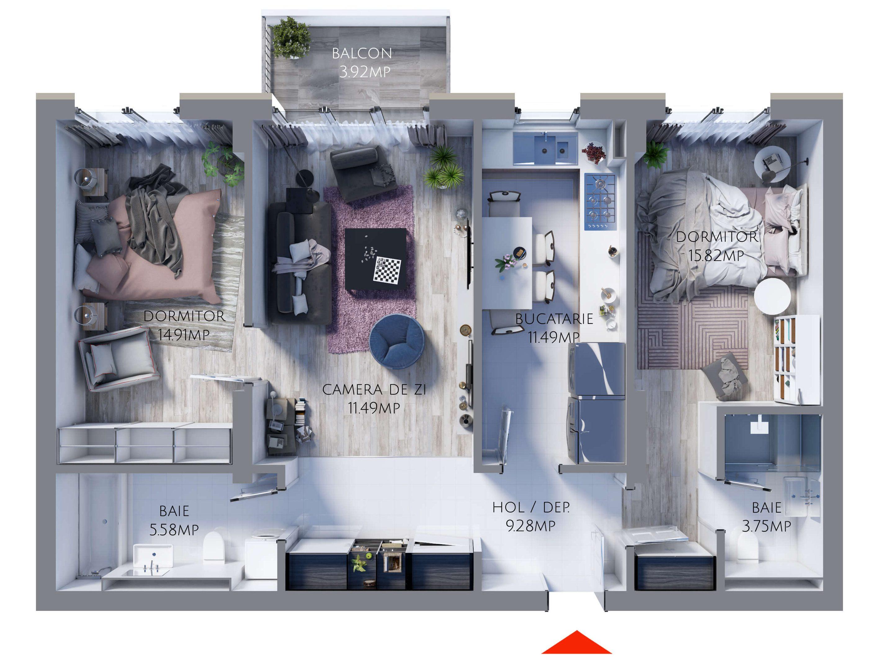Apartament 3 camere MR79